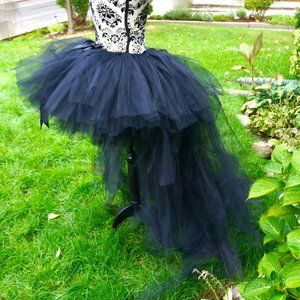 Hi Low Tutu (Black) - Long train/Bustle